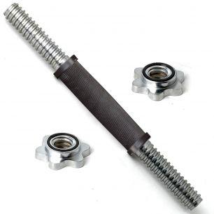 Гриф для гантели хромированный с резиновой ручкой 350 мм 30 мм с замком-гайкой RB14TR-30