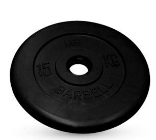 Диск обрезиненный черного цвета MB Barbell 15 кг