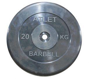 Диск обрезиненный черного цвета Atlet 20 кг