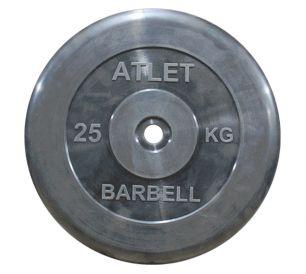 Диск обрезиненный черного цвета Atlet 25 кг